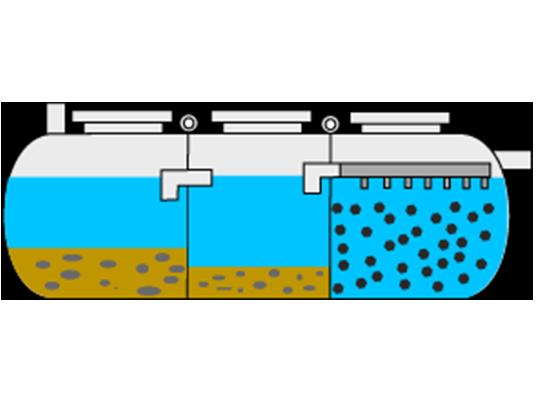 Fosa séptica con decantador-digestor y filtro biológico